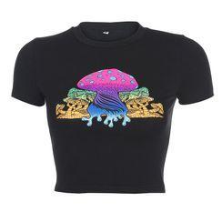 Cincine - Mushroom Print Short-Sleeve Crop Top