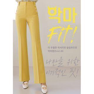 Styleonme - Metallic-Button Boot-Cut Dress Pants