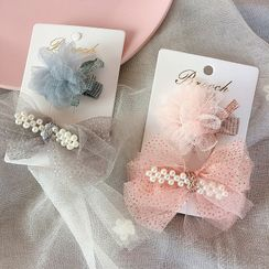 Sweet la Vie - Kids Set: Faux Pearl & Mesh Hair Clip