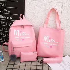 Rocktail - Set: Lettering Tote Bag + Backpack + Make Up Pouch + Pencil Case