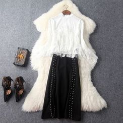 Yilda - 流苏边七分袖衬衫 / 侧开衩铅笔裙