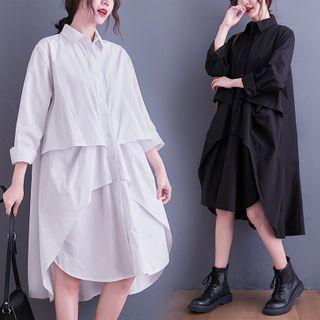 RAIN DEER - Long-Sleeve Irregular A-Line Shirtdress