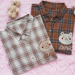 Candy House - Bear Plaid Shirt