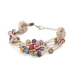 Cancion - Ceramic Bead Layered String Woven Bracelet