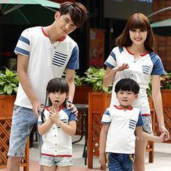 Igsoo - Parents and Kids Striped Panel T-Shirt
