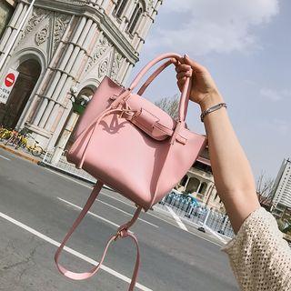 BAGSHOW - Set: Plain Faux Leather Handbag + Pouch