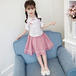 Qin Qin(チンチン) - Set: Kids Short-Sleeve Qipao Top + A-Line Skirt