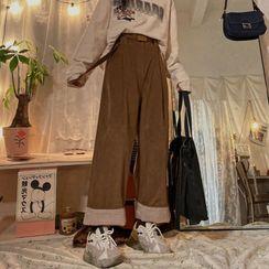 Intrinsica - 高腰纯色直筒灯芯绒宽腿裤