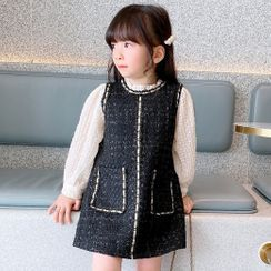 BobaBop - 小童假兩件長袖直身連衣裙