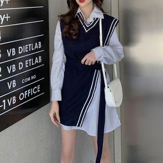 MYT Candy - 套装: 条纹迷你衬衫连衣裙 + 不对称腰结带针织马甲