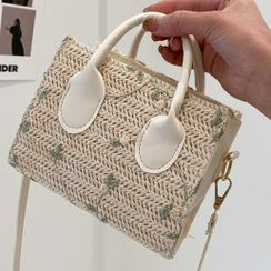 SUMME - Embroidered Straw Satchel