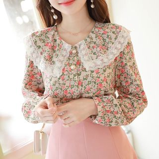 MyFiona - Laced Wide-Collar Floral Blouse