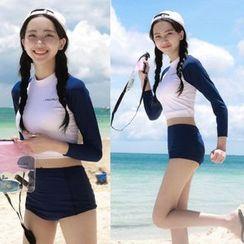 Charmaine - Set: Color Block Long-Sleeve Swim Top + Swim Shorts