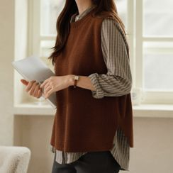 JUSTONE - Round-Neck Slit-Side Sweater Vest