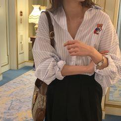 Windcatcher - 長袖熊刺繡條紋襯衫
