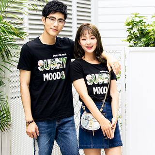 NoonSun - Couple Matching Lettering Short-Sleeve T-Shirt