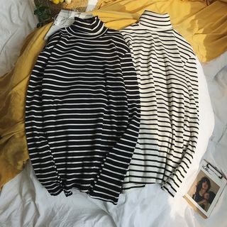 JUN.LEE - Striped Turtleneck Sweater