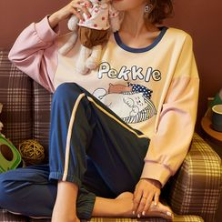 Jeony - Printed Long Sleeve Pajama Set