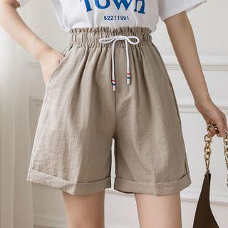 Whisperia - Plain High-Waist Wide-Leg Shorts