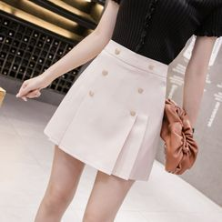 Peachton - Double Breasted Pleated Skirt