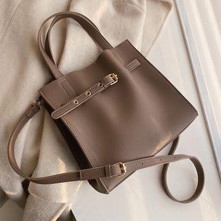 BAGUS - Buckled Faux Leather Crossbody Bag
