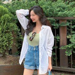 MERONGSHOP - Sheer Boxy Cotton Shirt