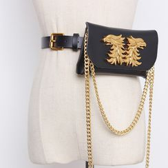 BLOCKHOUSE - Set: Faux Leather Belt + Chained Metal Accent Waist Pouch