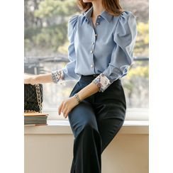 Styleonme - Epaulet Contrast Wide-Cuff Blouse With Scarf