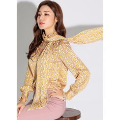 Styleonme - Frill-Trim Chain-Patterned Blouse with Scarf