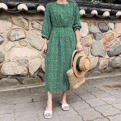 HOTPING - Bishop-Sleeve Floral Long Dress