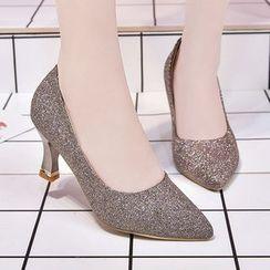 Weiya - Glitter High Heel Pointy Pumps