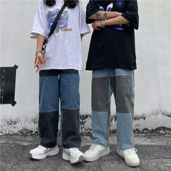 2DAWGS - Color Block Panel Straight Cut Jeans