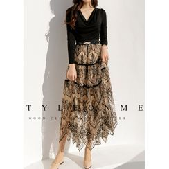 Styleonme(スタイルオンミー) - Two-Tone Lace Maxi Tiered Skirt