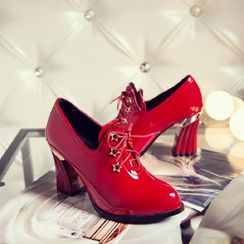 Comof - Patent Chunky Heel Lace-Up Ankle Boots