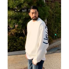 GERIO - USA-Flag Printed Fleece-Lined Oversized Pullover