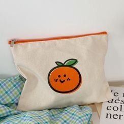 Olsin - Orange Print Canvas Makeup Pouch