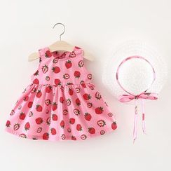 Hecto - Kids Set: Fruit Print Sleeveless Dress + Sun Hat