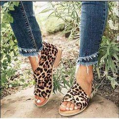 Blingon - Faux Leather Peep Toe Half-D'Orsay Flats