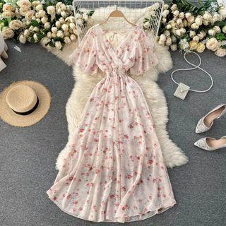 Lucuna - Short-Sleeve Floral Midi A-Line Dress