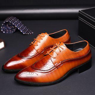 Taragan - Croc Grain Lace-Up Brogue Shoes
