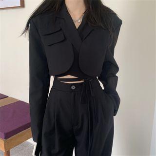 Bambu - 长袖短款西装外套/直筒西裤