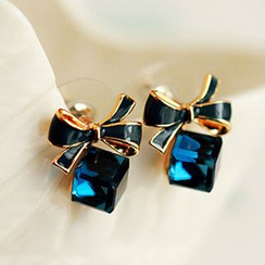 Cheermo - Bow-Accent Cubic Crystal Earrings