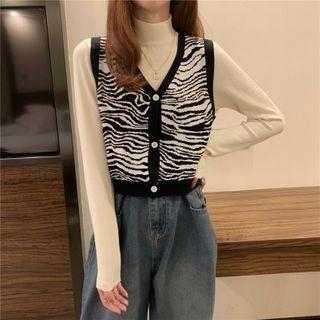 Sisyphi - Mock-Neck Knit Top / Sweater Vest