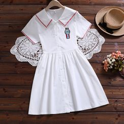TOJI - Embroidered Sailor Collar Short-Sleeve Mini A-Line Shirtdress