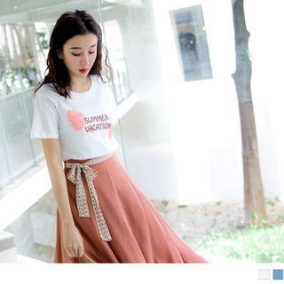 OrangeBear(オレンジベア) - Leaf-Print Lettering Short-Sleeve T-Shirt
