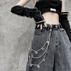 Porstina - Butterfly Layered Alloy Jeans Chain