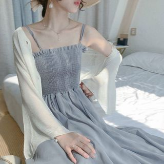 Apotheosis - Spaghetti Strap Maxi A-Line Chiffon Dress / Light Jacket