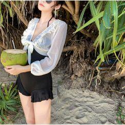 ASUMM - Set: Ruffled Swimsuit + Balloon-Sleeve Top