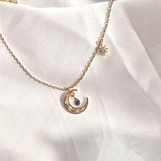 Calypso - Rhinestone Moon & Star Pendant Necklace