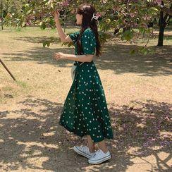 Yunhouse - Short-Sleeve Floral Print Midi A-Line Dress